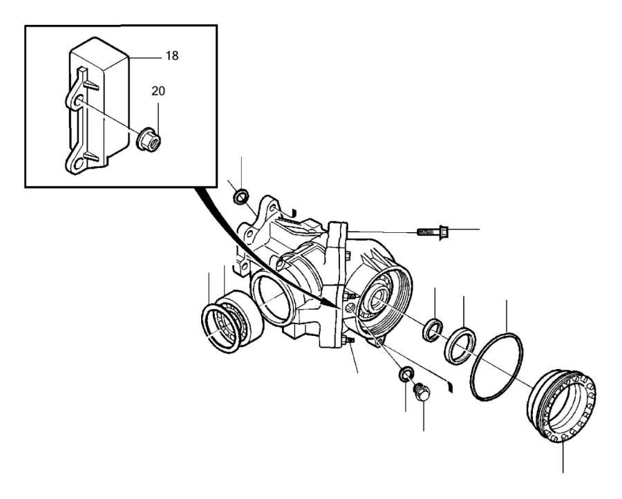 2002 volvo v70 adjusting nut  angle  gear  awd  transmission - 9143878