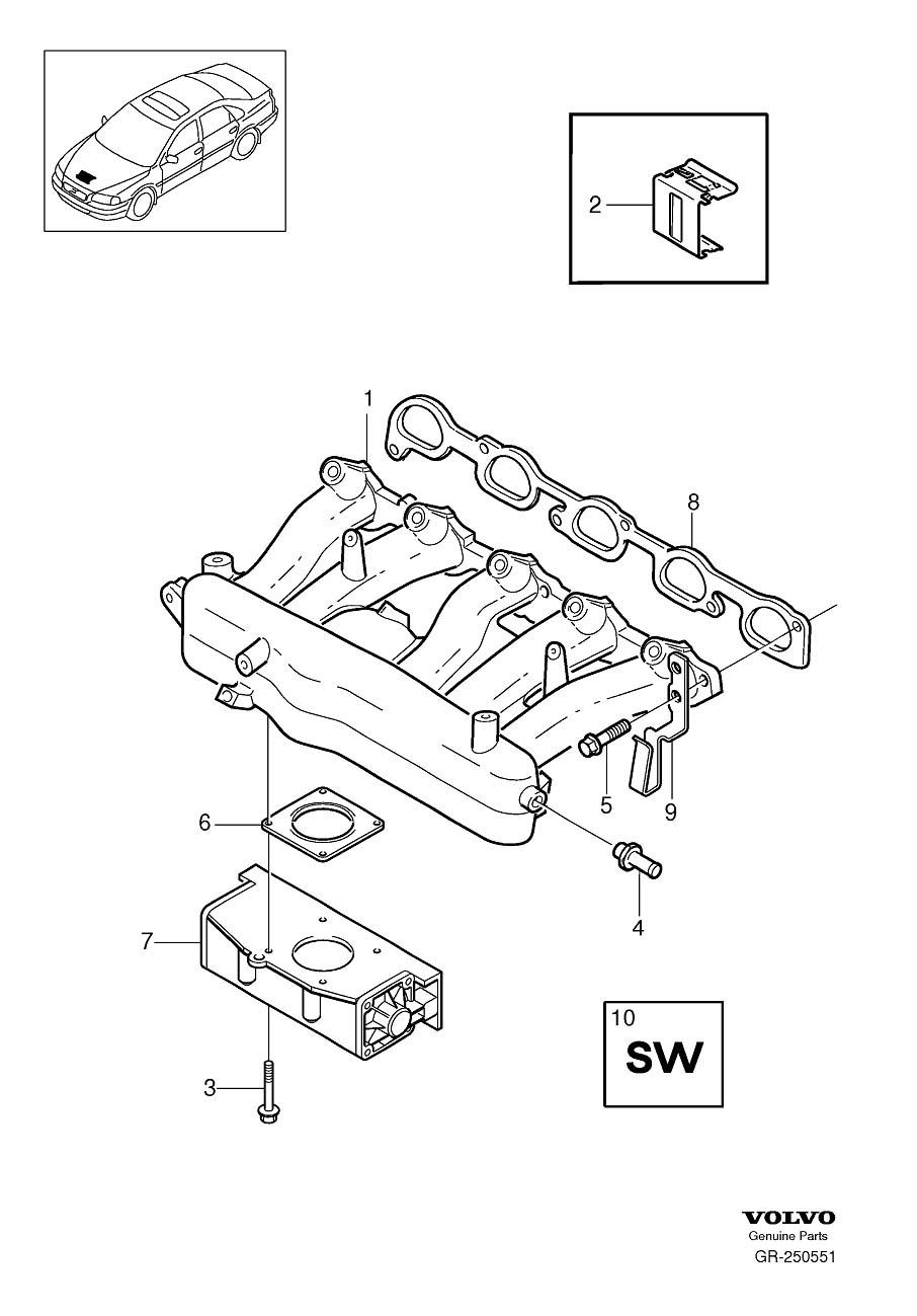 30711554 - throttle body  manifold  inlet  housing