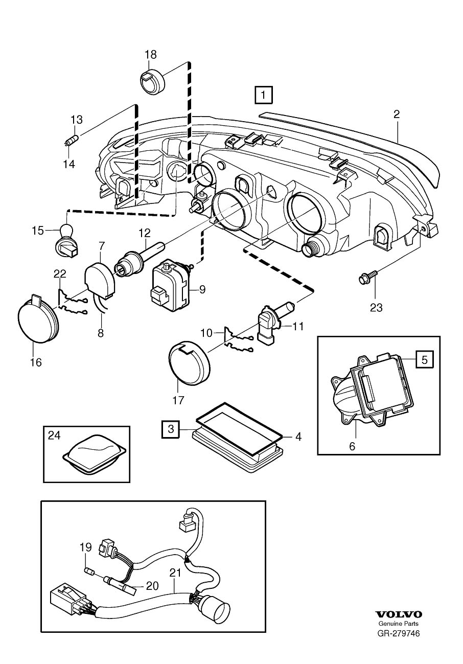 30744703 - headlight wiring harness  gas  discharge  left