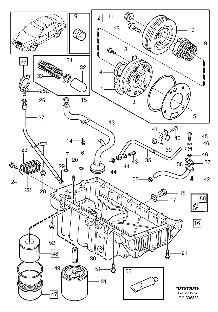 Diagram Lubricating system for your 1998 Volvo S70 2.5l 5 cylinder Fuel Injected