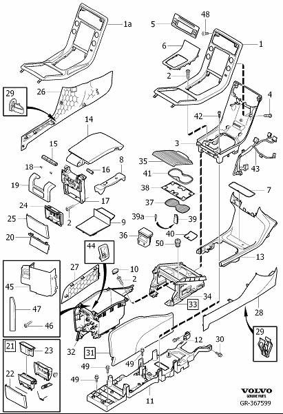 volvo s80 console trim panel  code  interior  tunnel - 39870769