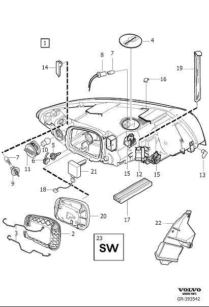 2009 Volvo V50 Headlight Wiring Harness  Connector