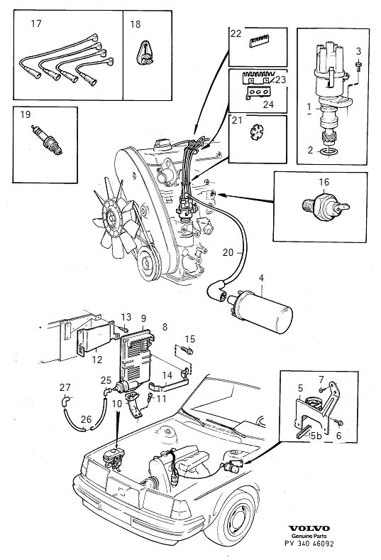 volvo 240 sensor  genuine classic part  system  ignition - 1317296