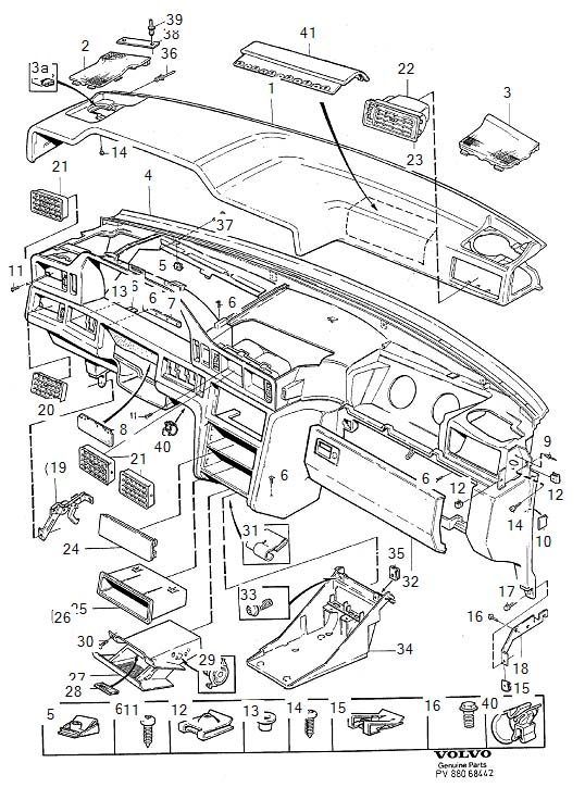 1996 Volvo 850 Instrument Panel Brace (Left, Right, Upper ...