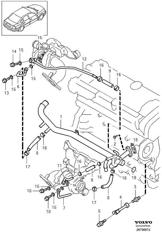 2001 Volvo S80 Gasket  Cooling  Water  Turbo