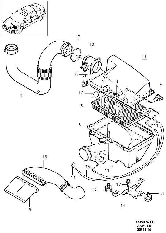 2005 Volvo Engine Air Intake Hose  Air Inlet  Air Filter