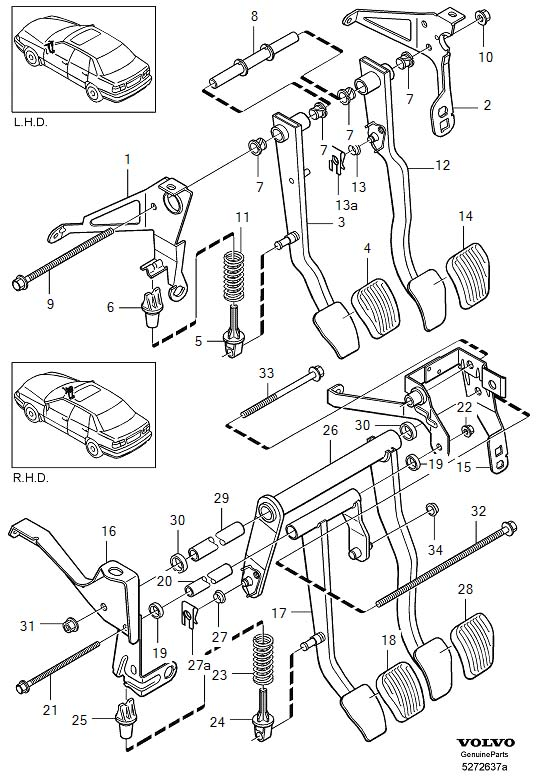 2000 Volvo V70 Helper Spring  Brake  Pedal  Clutch