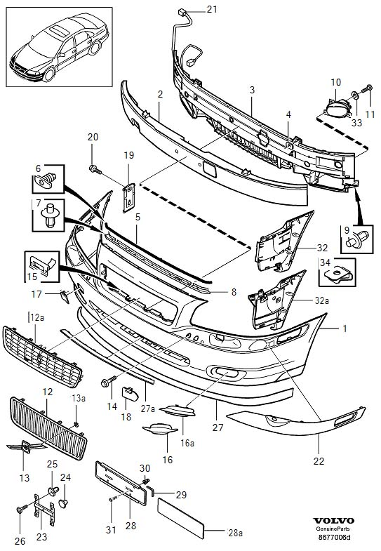 2001 volvo s80 absorber  front bumper  cancer  harm  reproductive - 9178113