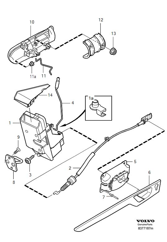 2002 Volvo S60 2 4l 5 Cylinder Turbo Door Lock Operating Rod  Rear   Lock Button  Locking System